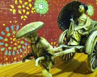 Vintage Japanese Geisha in Rickshaw Celluloid Excellent Detail