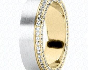 Men's Wedding Band White Gold with White Diamonds