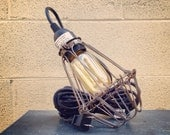 Vintage style wire caged bulb single drop light, pendant