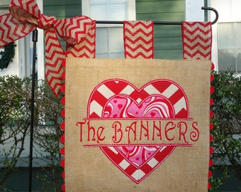 Double Sided Burlap Garden Flag - Valentines Heart  - Customized Embroidery Applique