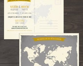 Destination wedding invitation Map Style Bilingual Wedding Save the Date Card World map Grey Yellow - international couple invitation