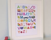 Illustrated Alphabet Nursery Print - Baby ABC - Personalised Modern Children's Educational Art Poster in A4, A3, 8 x 10 & 11 x 14 prints