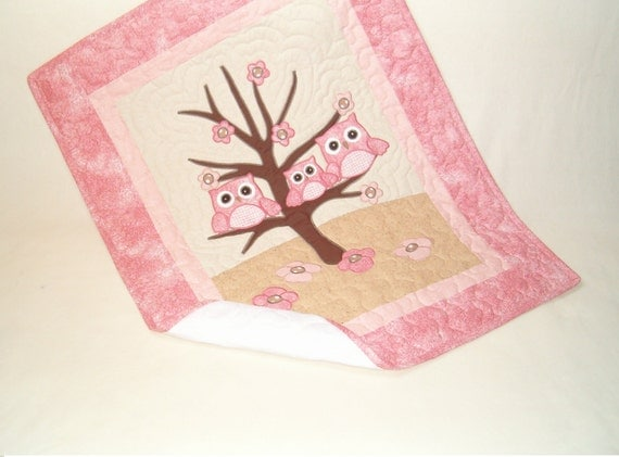 Owl Quilt  Baby Shower Gift  Organic Nursery Bedding  Baby Blanket, Baby Bedding