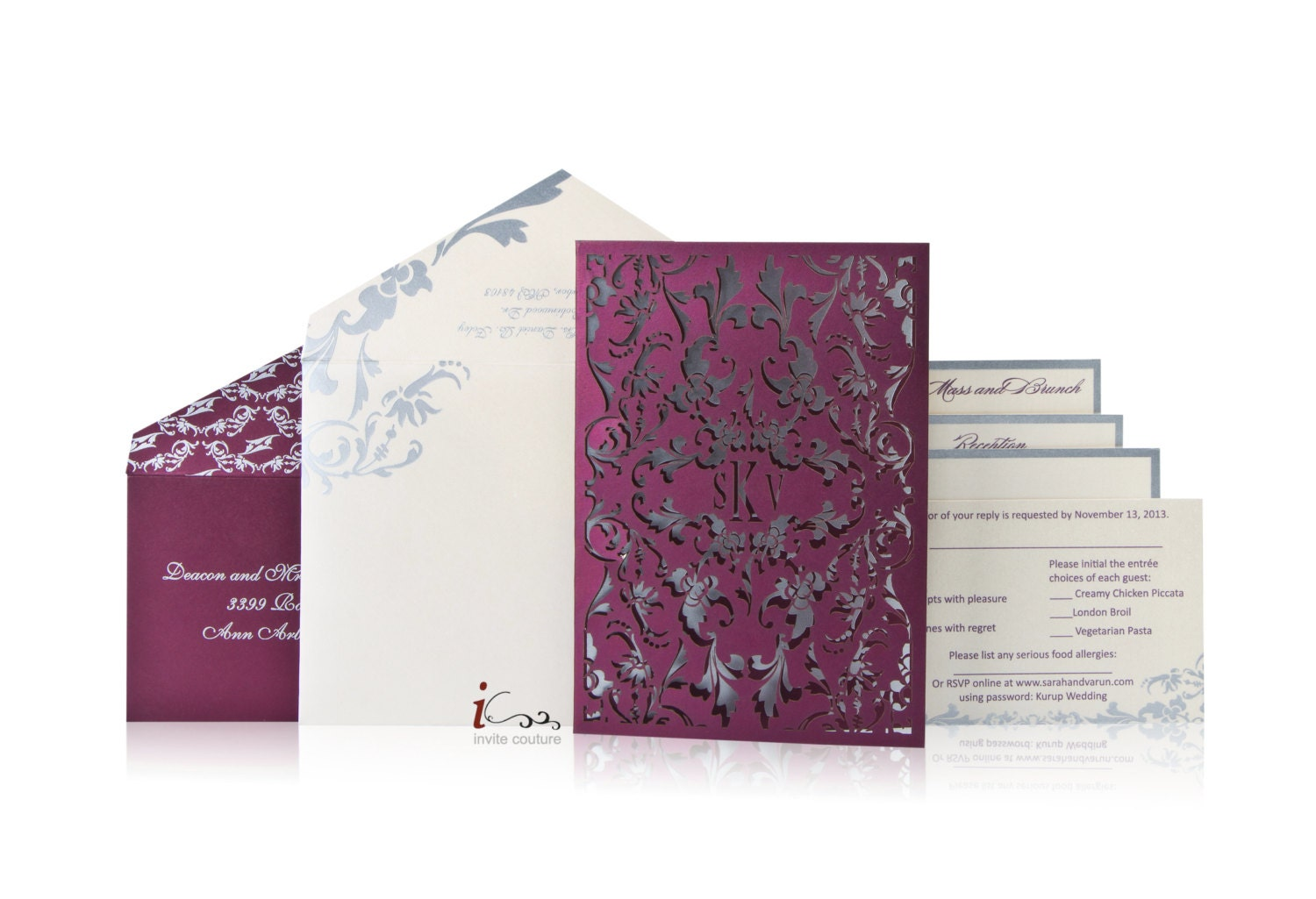 Custom lasercut luxury wedding invitations die cut wedding for Luxury wedding invitations dubai