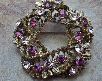 Pretty Purple and Pink Rhinestone Circle Brooch