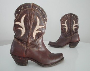 Vintage 1940s 40s Cowboy Boots Cowgirl Rodeo with Inlay Brown Shorties Acme Boots