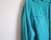 FREE SHIPPING Vintage mens h bar c green western shirt size 17.5 x 35 (large)