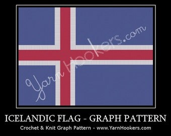Iceland National Flag - Afghan Crochet Graph Pattern Chart - Instant Download