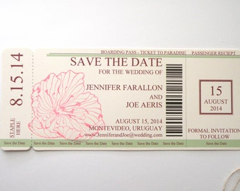 Boarding Pass Save The Date with Exotic Flower in Green and Pink