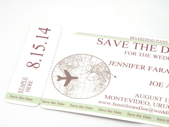 Pass Save The Date with World Map and Plane