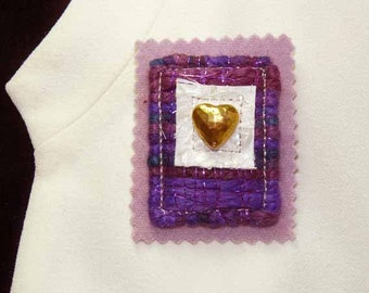 Pink or Purple with Metallics and Hammered Brass Heart Fiber Art Pin Brooch