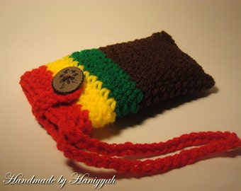 Cell Phone Cozy - Cover - Case - iPhone - iPod Touch - Wristlett - Rasta Inspired