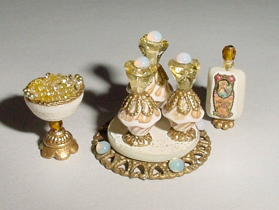 Miniature Gold And White Vanity Perfumes By MiniTreasuresByTerre