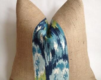 Ikat Craze Birch Barkcloth Fabric and Burlap Pillow Cover