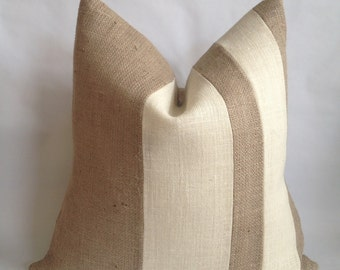 Double Two Tone Stripe Burlap Pillow Cover