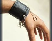Black Vegan Leather Cuffs with Chains, Unisex, Bracelets, Cynt D B