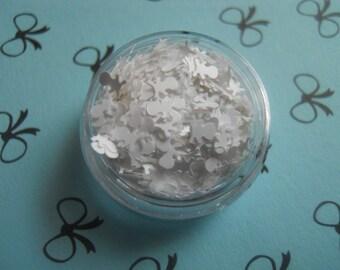 """Matte White Skulls 1/2 Ounce 1/8"""" Skull and Crossbones Halloween Glitter Solvent Resistant"""