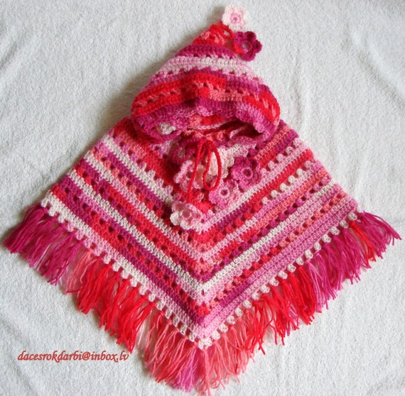 Crochet Pattern For Baby Hooded Poncho : Baby Girl Crocheted Hooded Poncho by Dachuks on Etsy