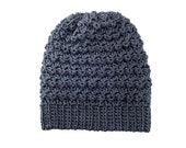Mens Womens Ripple Slouchy Beanie Hat in Dark Grey