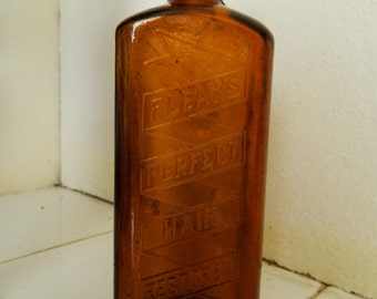 Victorian Apothecary Quackery Hair Restorer Amber glass bottle