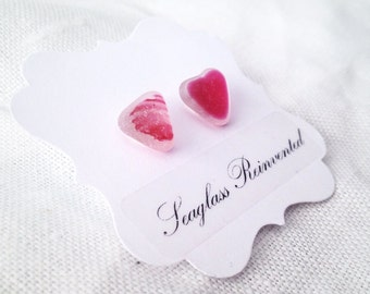 Pink Heart English Sea Glass Post Earrings - Sterling Silver - Multi Sea Glass Jewelry
