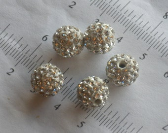 4pcs-8mm pave rhinestone, crystal beads, sparkly beads, silver tone, high-quality, light weigh, necklace, bracelet, earrings