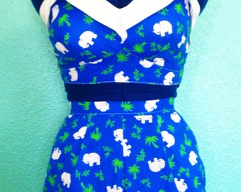 Norma Playsuit - 1950s style vintage reproduction custom handmade