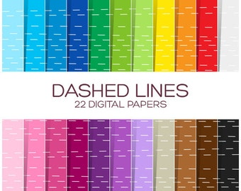 Dashed Lines Digital Paper Pack - Scrapbook Printable Background - Rainbow High Resolution Paper - P00105