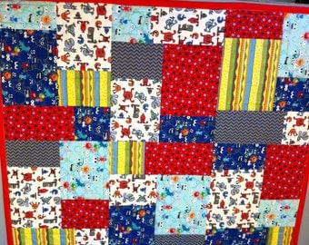 Mixed monsters crib quilt Baby quilt Friendly Monster PalsToddler keepsake