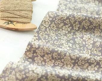 Cotton Linen Blend Romantic Flowers - Violet - By the Yard 38854