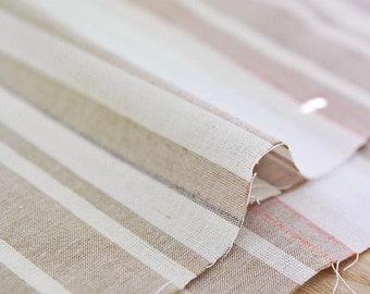 Yarn Dyed Linen Vintage Stripe - Beige - By the Yard 41955