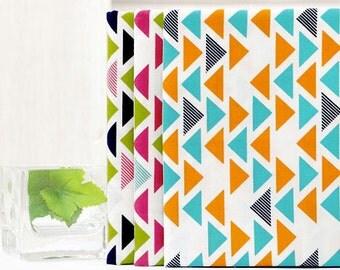 Fat Quarters Bundle Cotton Fabric - Colorful Triangles - Set of Three - 51379