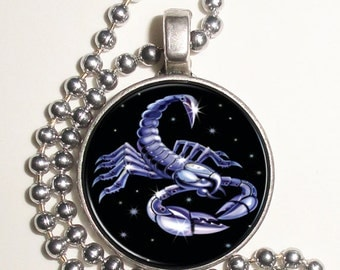 Scorpio Zodiac Horoscope Altered Art Photo Pendant, Keychain and/or Earrings, Round, Silver and Resin Charm Jewelry