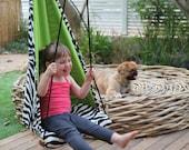Free Shipping - Hang Mini children Hammock Seat - hanging chair - swing for Kids Safari Color Zebra & Green Birthday Gift