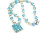 Scrabble Tile Necklace Aqua Teal Beaded