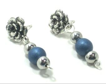Elegant Rose Stud Blue Silver Dangle Earrings
