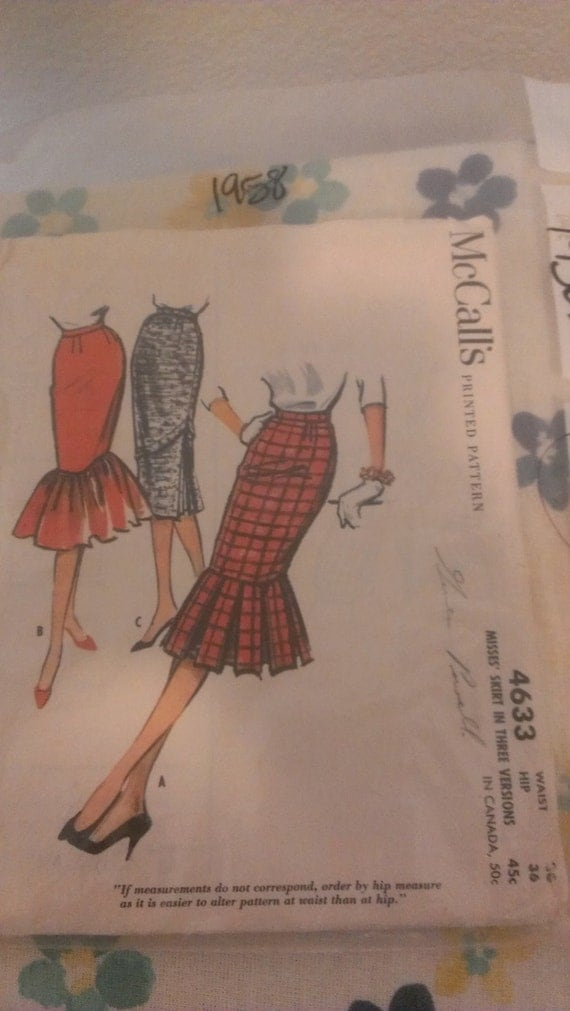 RESERVED Pattern for Marina --vtg 1950s Mccalls 4633  Pleated Wiggle Bombshell Skirt Pattern 26w/36h Rare UC
