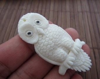 Hand Carved Owl Pendant, Drilled, Focal piece, Organic, Jewelry making Supplies B3931
