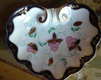 Sale - Antique Heart Shaped Flow Blue Dish