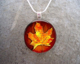 Maple Leaf jewelry - Glass Pendant Necklace - Autumn Leaves 4 - PRE-ORDER