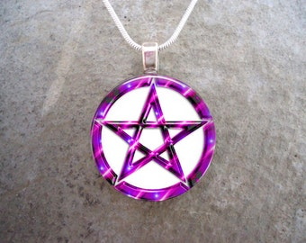 Wiccan Pentacle Jewelry - Glass Pendant Necklace - White and Pink