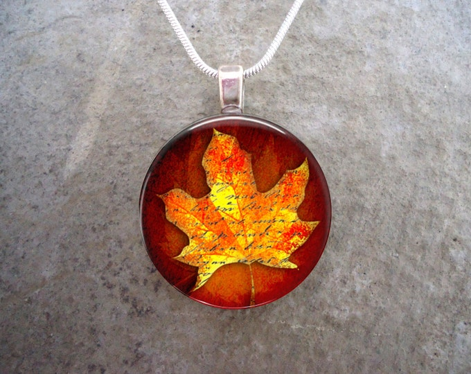 Maple Leaf jewelry - Glass Pendant Necklace - Autumn Leaves 4