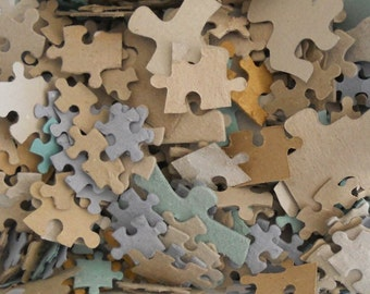Vintage Recycled Card Jigsaw Puzzle Pieces For Craft & Paper Making
