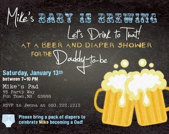 Beer and Diaper Shower Invitation Boy Man Shower Man Diaper Party Chalkboard Invites Boy Invitations Beer and Diaper Party Man Shower