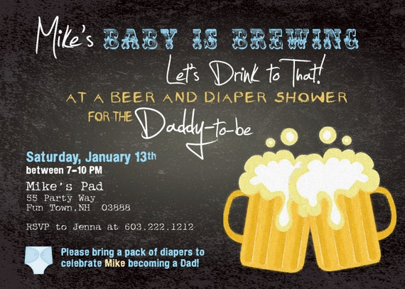 beer and diaper shower invitation boy man shower man diaper party