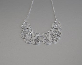 Statement Bib Necklace in Sterling Silver Filigree