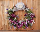 Spring Floral  Grapevine Purple Silk  Ribbon Wall Decorations Door Decorations Easter Holidays wreaths