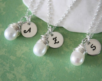 2 Bridesmaids Personalized Necklaces, Bridesmaids Gifts, Initial & Pearl Sterling Silver Necklaces