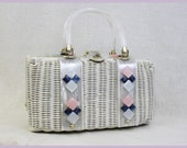 RESERVED - White Wicker Straw Lucite Purse -  1950s/1960s Box Handbag - Pearly Pink Blue Diamonds - Tropic Miami Florida