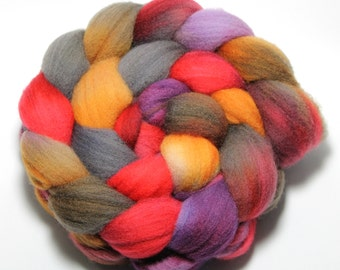 Hand painted Roving - Autumn Sunset - Falkland wool, 4 Ounces
